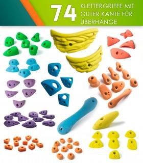 74 Klettergriffe mit guter Kante für Überhänge